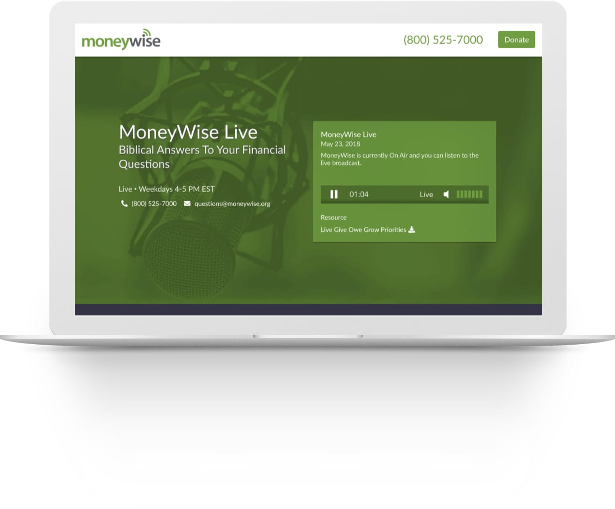 Screenshot of the MoneyWise website