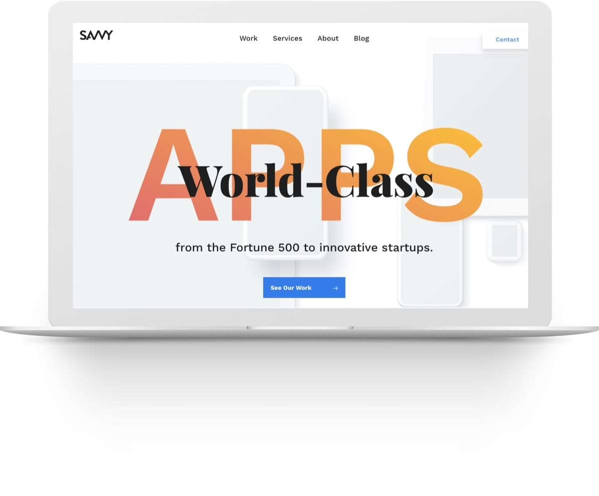 Screenshot of the Savvy Apps website